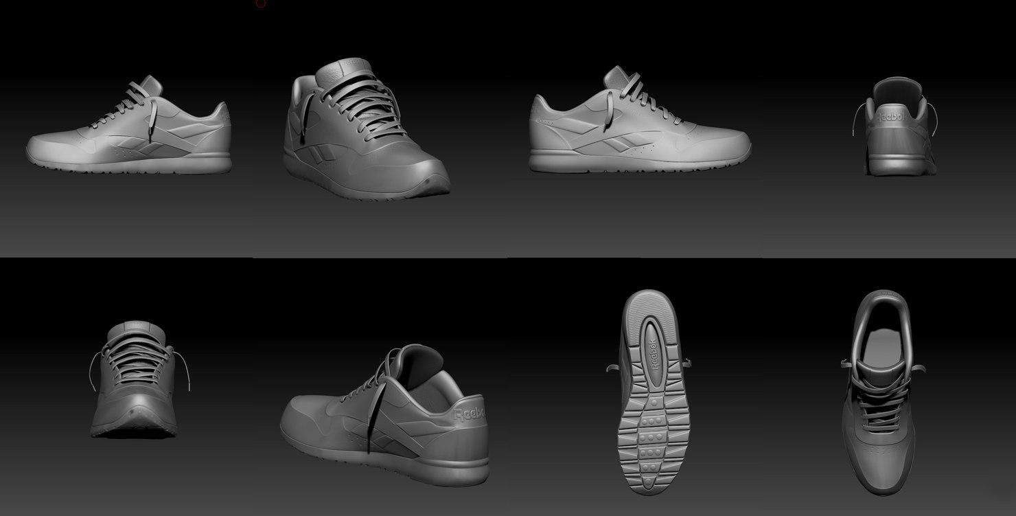 3d model of reebok sports shoe