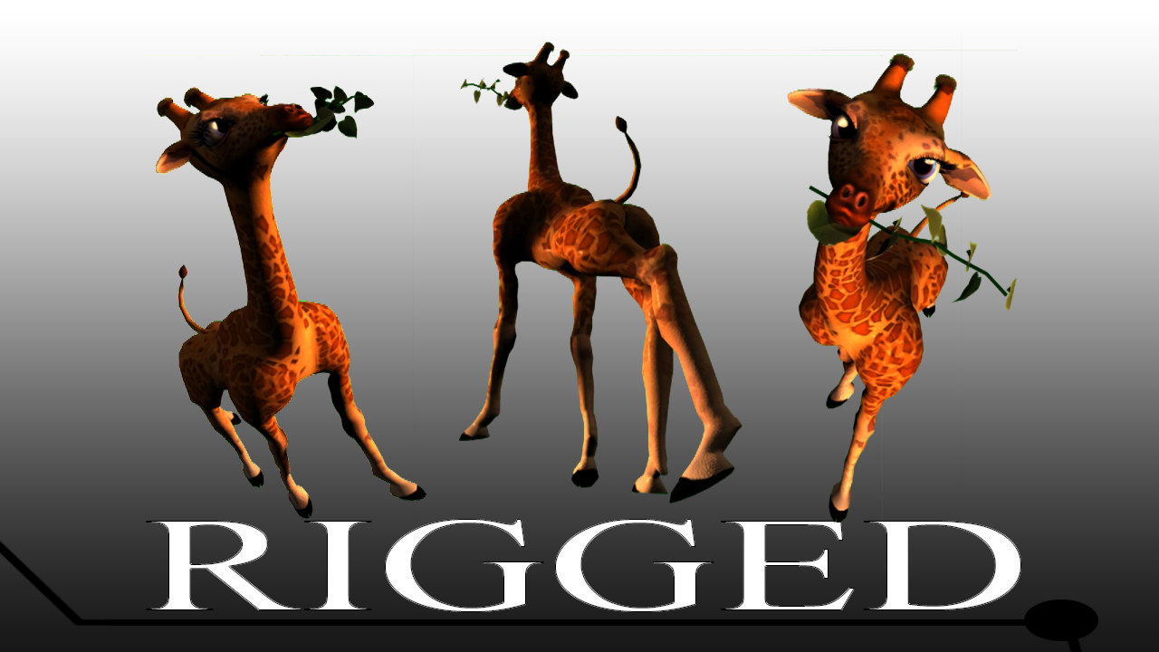 cartoon giraffe environment 3d ma
