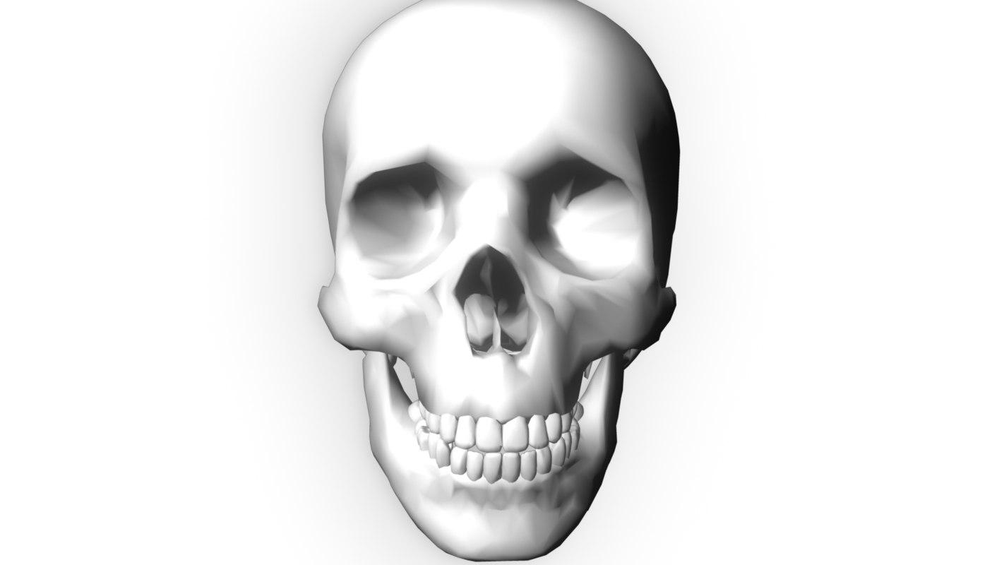 glowing human skull 3d model