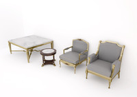 classic furniture set 3d fbx