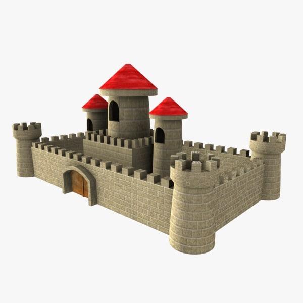 3d cartoon castle toon model