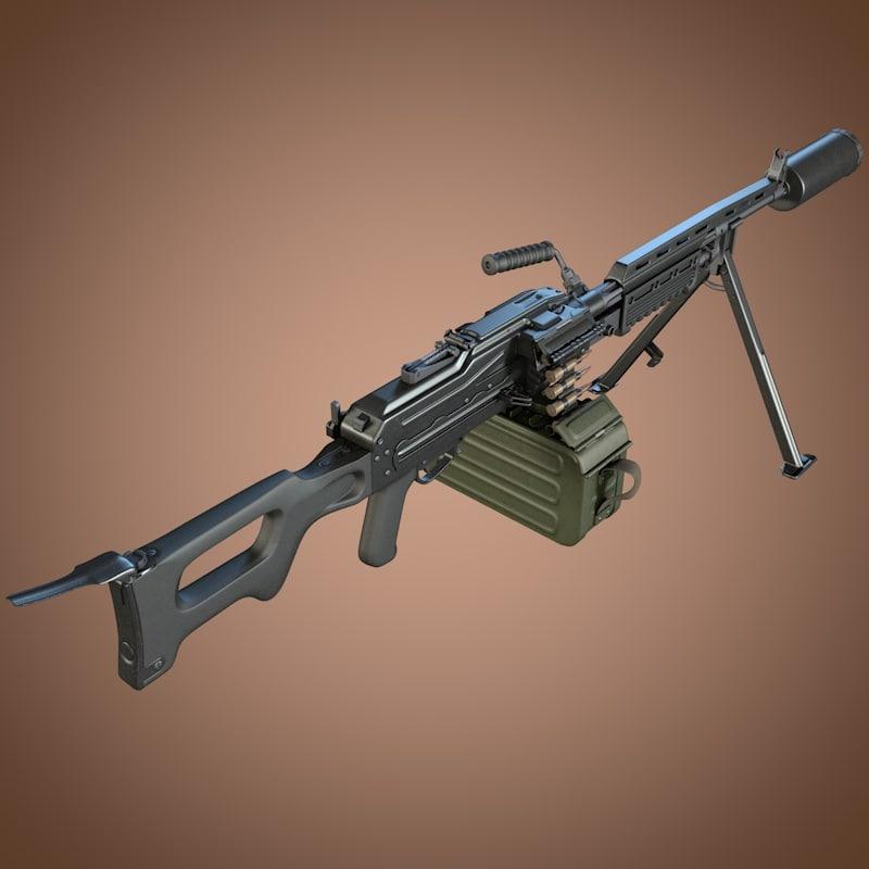 3d kalashnikov aek-999 barsuk machine gun
