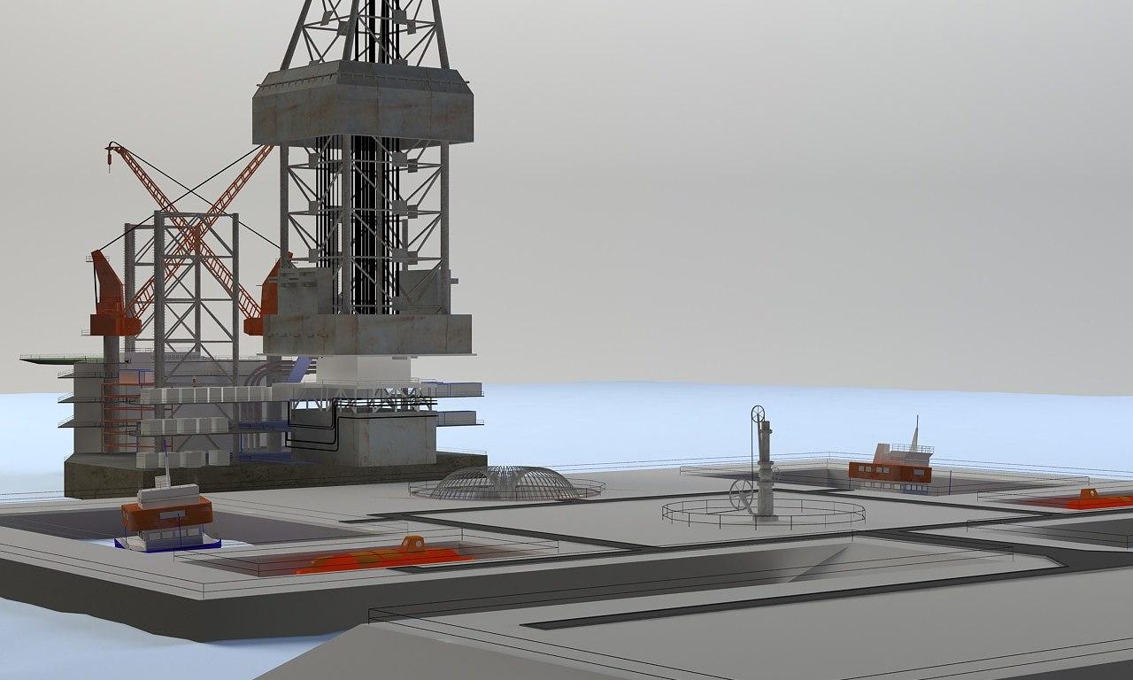 oil drilling rig 3d model
