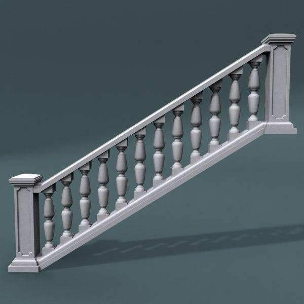 3d staircase balustrade