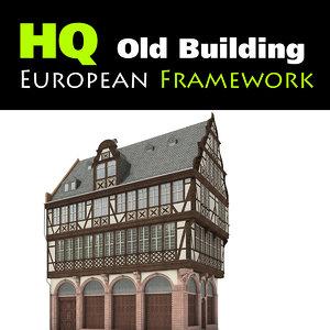 3d old european building model