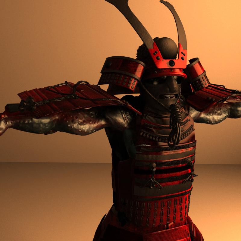 samurai monster creature 3d obj