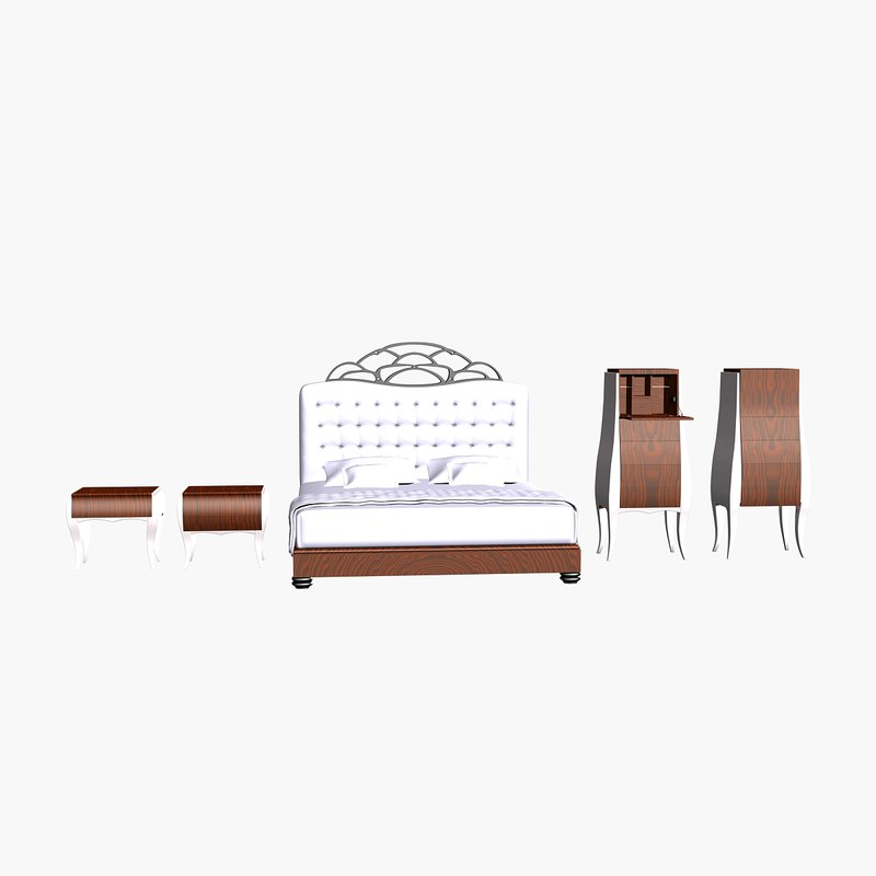 3d model abril bedroom bed