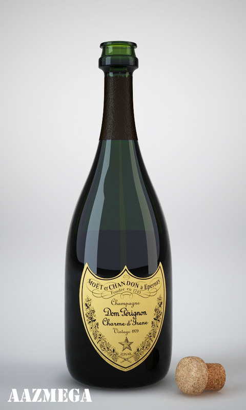 bottle dom perignon champagne 3d model