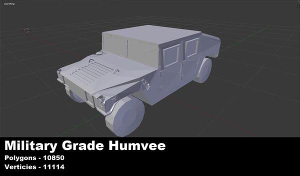 military humvee untextured 3d 3ds