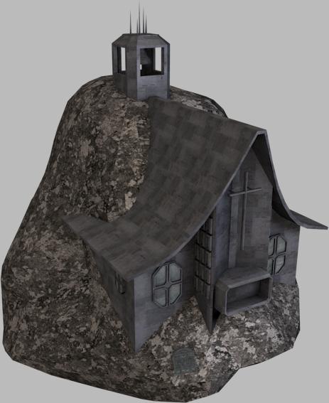 scifi space church asteroid 3d model