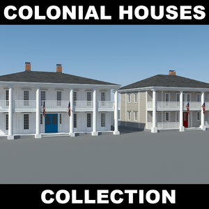 3d colonial houses model