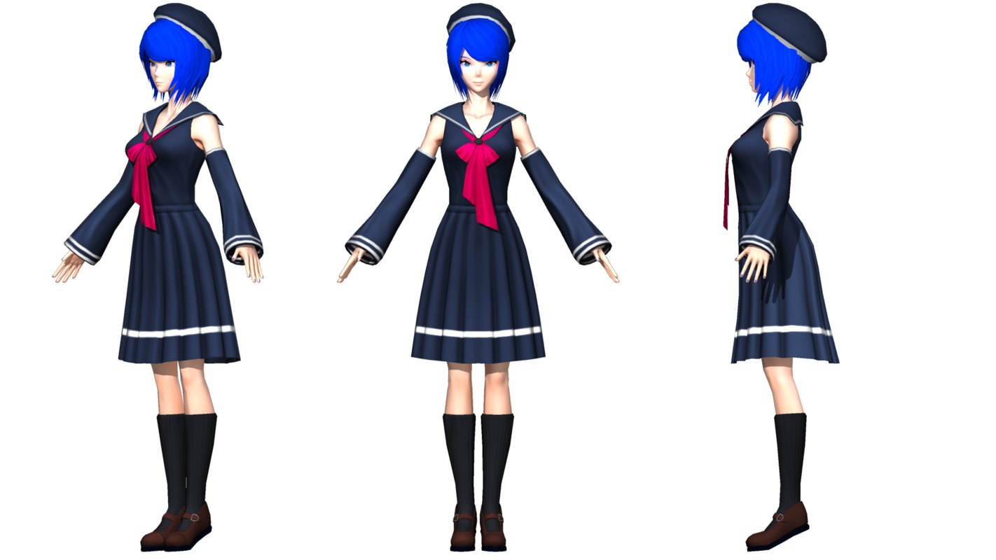 anime female 3d model