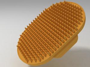 3d rubber grooming brush model