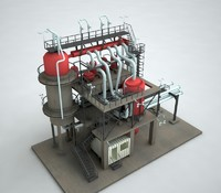 industrial refinery 3d max