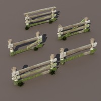Fence Wood Low Poly 3d Model