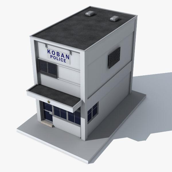 3d model koban police station japan