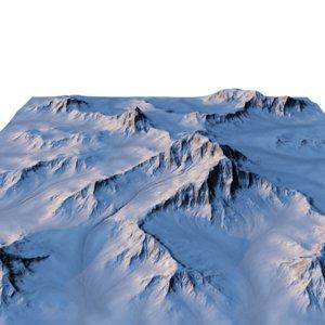 3d model snowy mountain