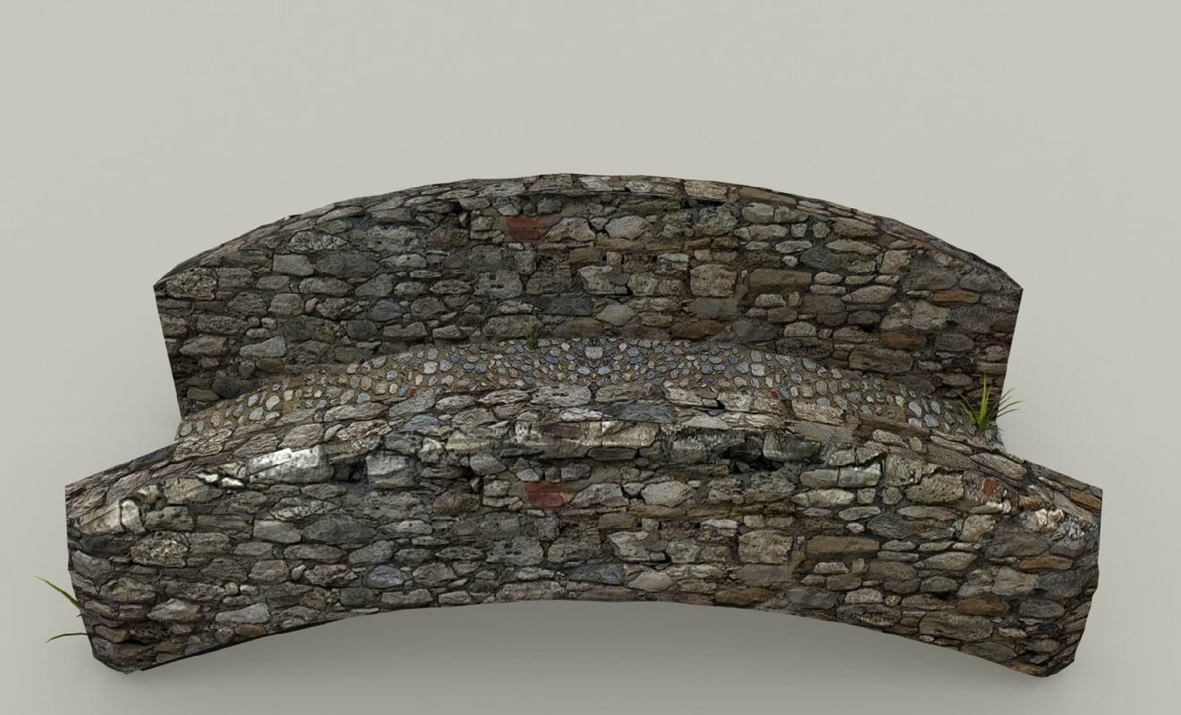 medieval stone bridge 3d 3ds
