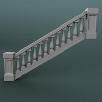 staircase balustrade 3d max