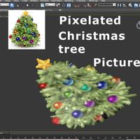 pixelated christmas tree 3d model