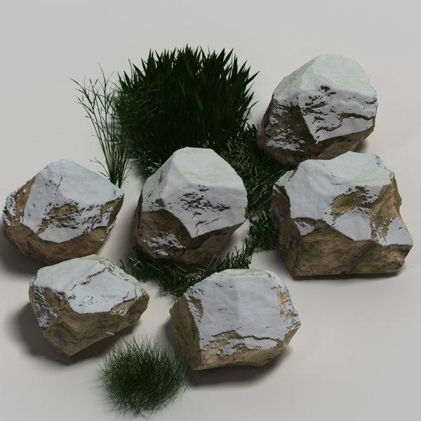 3ds plant rock snow