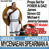 Props Set Poser Daz for Greek Mycenaean Spearman A