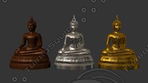 3d buddha gold copper model