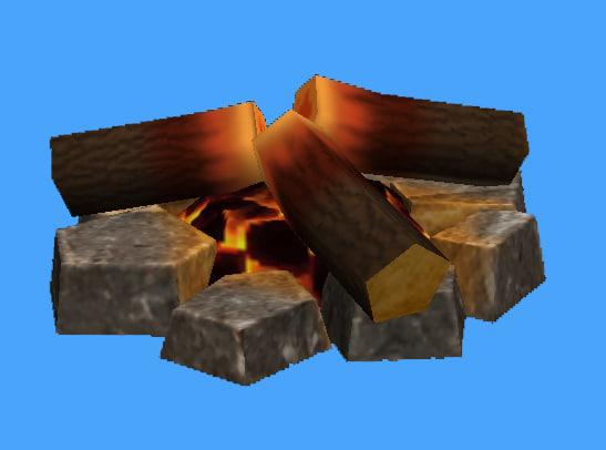 3d model campfire stones logs