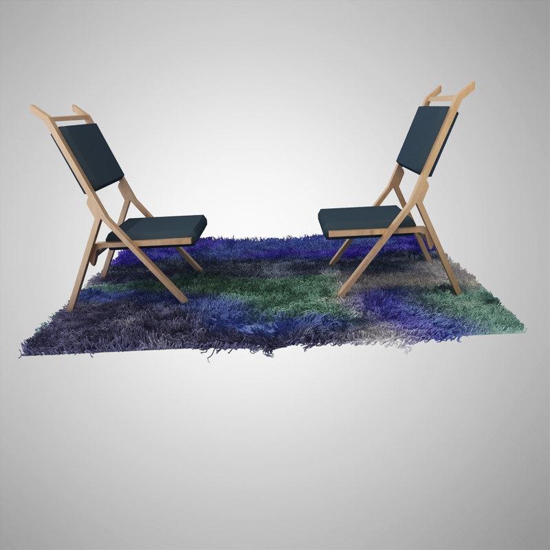 3d chair carpet fur