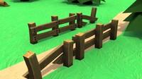 Cartoon Old Broken Wooden Fence