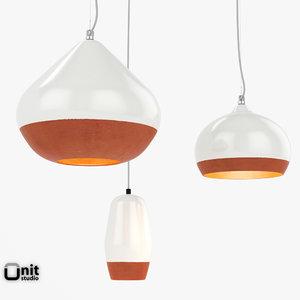 3 terracotta pendants lamp 3d model