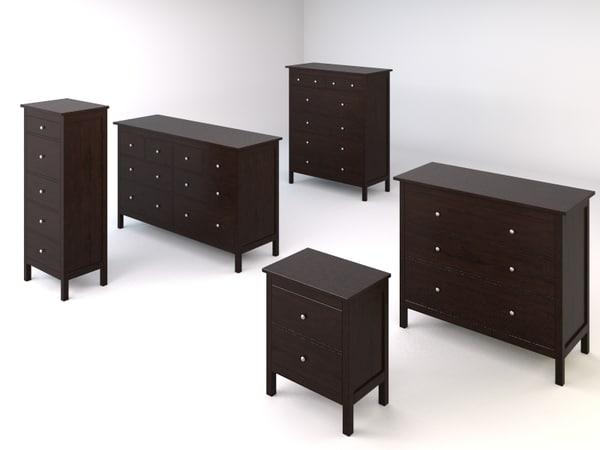 ikea hemnes bedroom drawers chests set. bedroom drawers chests 3d model