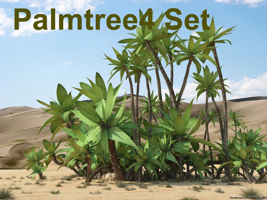 3d palmtree palm set model