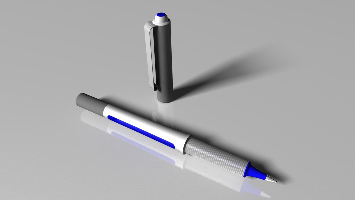 blue pen cap 3d model
