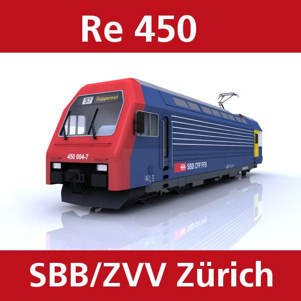 3d re450 train switzerland model