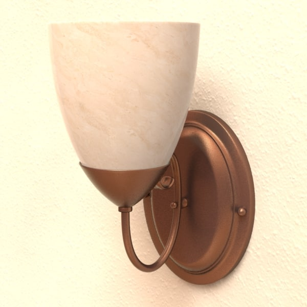 3d model wall light fixture