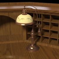 3d model antique desk lamp