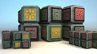 3d model science fiction crates