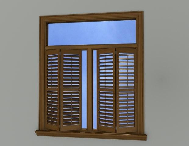 window wall wood blinds 3d model