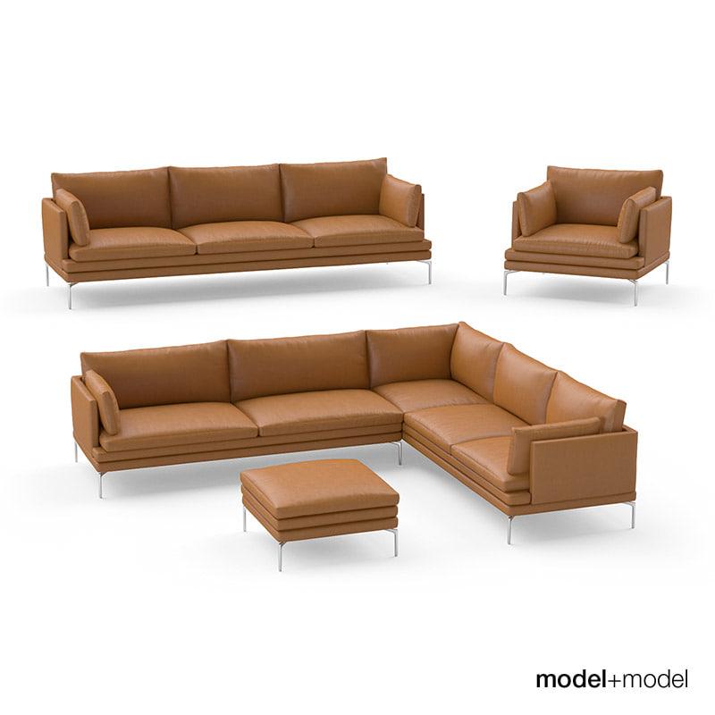 zanotta william sofas armchair 3d obj. Black Bedroom Furniture Sets. Home Design Ideas