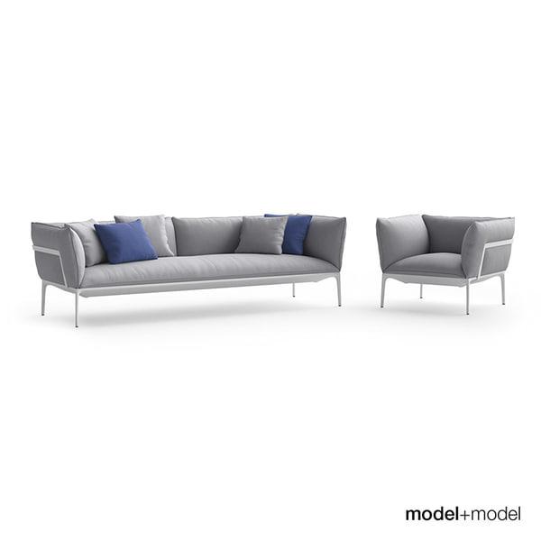 3d mdf italia yale sofa armchair model