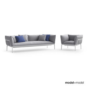 3d mdf italia yale sofa armchair model