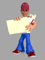 3d paperboy posed character model
