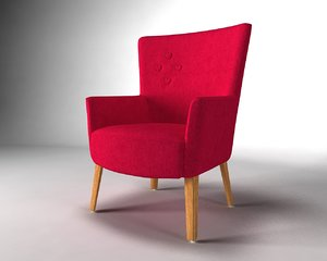 3d red chair
