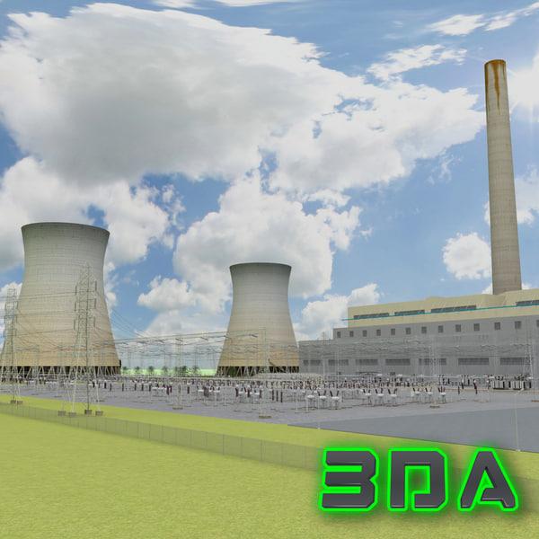 coal power plant 3d model