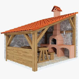 3d model grill barbecue terrace