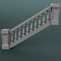 3d model staircase balustrade