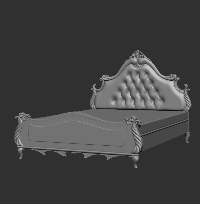 ornated king size bed 3d 3ds
