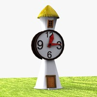 cartoon clock tower 3d model