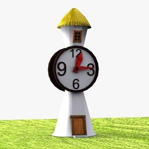 cartoon clock tower 3d model